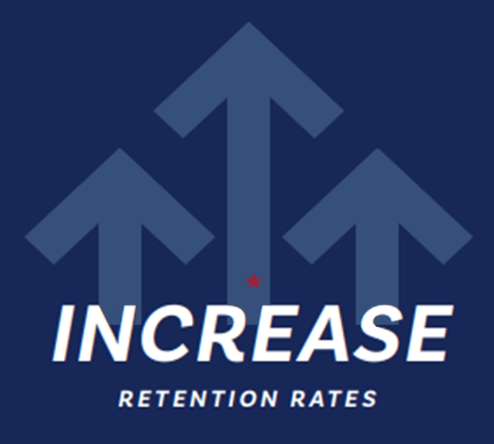 Image with upward arrows that says: Increase Retention Rates
