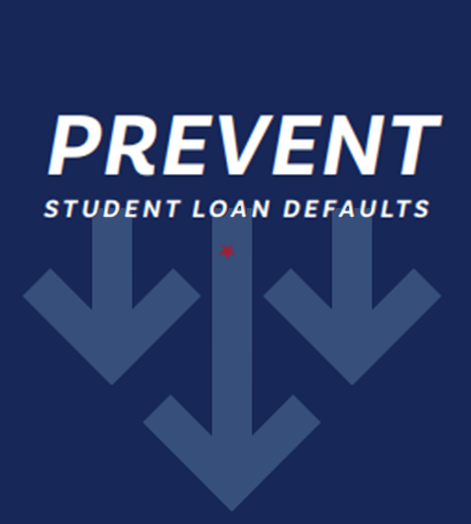 Image with downward arrows that says: Prevent Student Loan Defaults